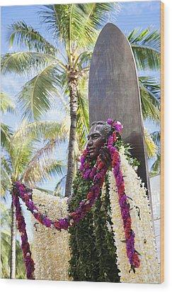 Duke Kahanamoku Covered In Leis Wood Print by Brandon Tabiolo