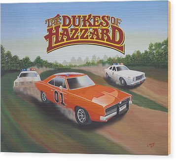 Dukes Of Hazzard Chase Wood Print