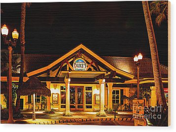 Wood Print featuring the photograph Duke's Restaurant Front - Huntington Beach by Jim Carrell
