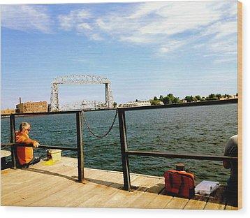 Duluth Docks Wood Print by Danielle  Broussard