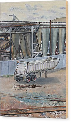Wood Print featuring the painting Dump Truck Bin And Steel Mill by Asha Carolyn Young
