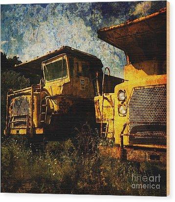 Dump Trucks Wood Print by Amy Cicconi