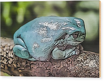 Wood Print featuring the digital art 00014 Dumpy Tree Frog by Photographic Art by Russel Ray Photos