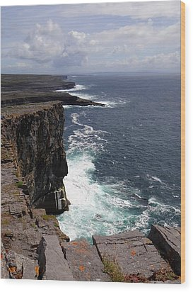 Dun Aengus Cliffs Wood Print by Keith Stokes