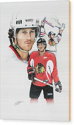 Duncan Keith Wood Print by Jerry Tibstra