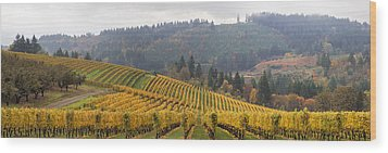 Dundee Oregon Vineyards Scenic Panorama Wood Print by JPLDesigns