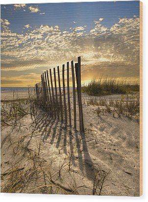 Dune Fence At Sunrise Wood Print by Debra and Dave Vanderlaan