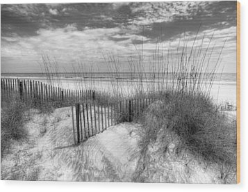 Dune Fences Wood Print by Debra and Dave Vanderlaan