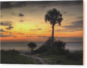 Dune Trail At Sunrise Wood Print by Greg and Chrystal Mimbs