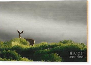 Dunes Deer P Wood Print