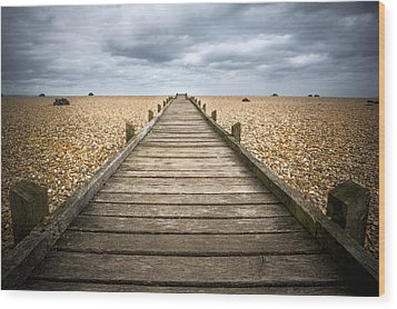 Dungeness Beach Walkway Wood Print