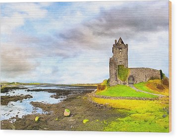 Dunguaire Castle In County Galway Ireland Wood Print by Mark E Tisdale