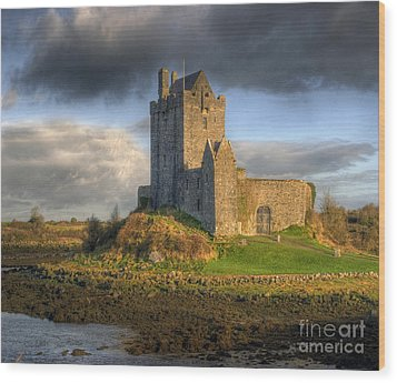 Dunguaire Castle With Dramatic Sky Kinvara Galway Ireland Wood Print