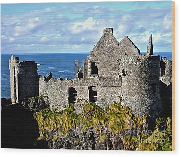 Dunluce Castle Wood Print by Nina Ficur Feenan