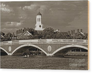 Weeks Bridge Charles River Bw Wood Print