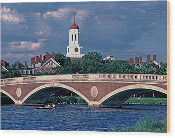 Weeks Bridge Charles River Wood Print by Tom Wurl