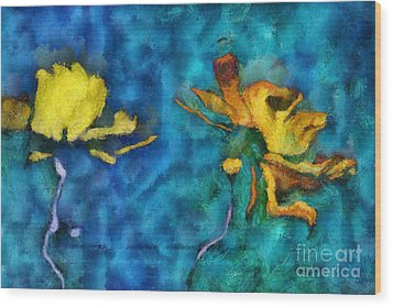 Duo Daisies - 01c2t5dp01e Wood Print by Variance Collections