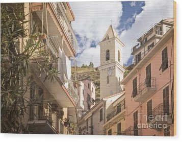 Duomo Bell Tower Of Manarola Wood Print