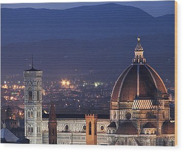 Wood Print featuring the photograph Duomo At Night Florence Italy by Sally Ross