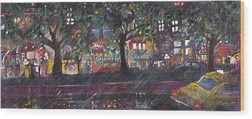 Dupont In The Rain Wood Print by Leela Payne