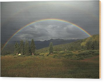 Durango Double Rainbow Wood Print by Alan Vance Ley