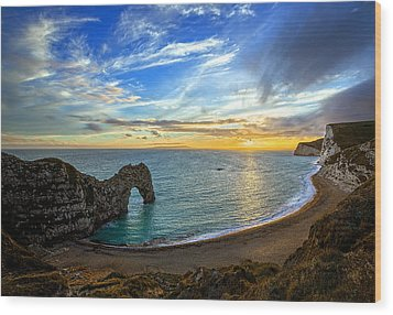 Durdle Door Sunset Wood Print