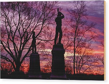 Durell's Independent Battery D And 48th Pa Volunteer Infantry-a1 Sunset Antietam Wood Print by Michael Mazaika