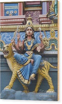 Durga Statue On Hindu Gopuram Wood Print by Tim Gainey