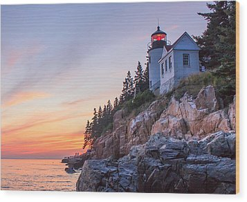 Dusk At Bass Harbor Light Wood Print by Stephen Beckwith