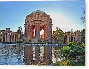 Dusk At The Palace Of Fine Arts In The Marina District Of San Francisco Wood Print by Jim Fitzpatrick