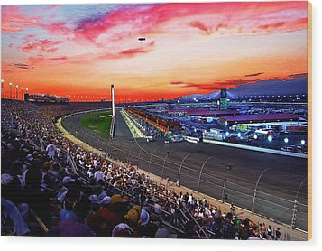 Dusk At The Racetrack Wood Print