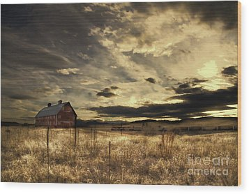 Dusk At The Red Barn Wood Print