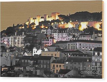 Dusk Falls On St. George Castle Lisbon Wood Print by Linda  Parker