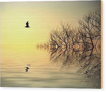 Dusk Flight Wood Print by Sharon Lisa Clarke