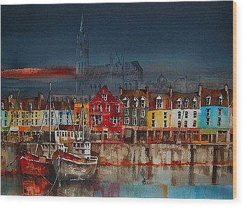 Dusk On Cobh Harbour Cork Wood Print