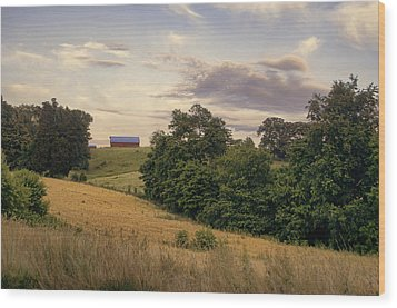 Dusk On The Farm Wood Print by Heather Applegate