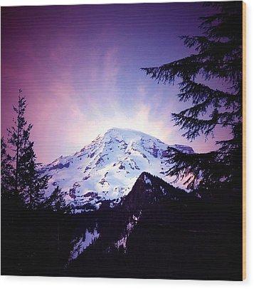 Dusk On The Mountain Wood Print