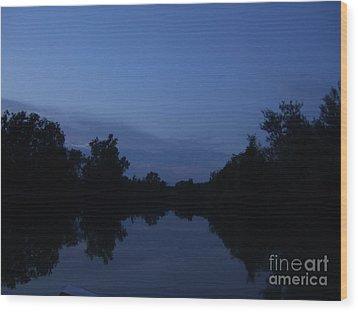 Dusk On The River Wood Print