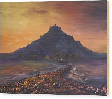 Wood Print featuring the painting Dusk Over St Michaels Mount Cornwall by Jean Walker