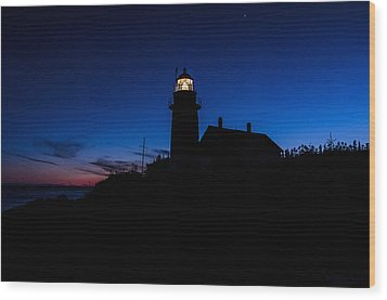 Dusk Silhouette At West Quoddy Head Lighthouse Wood Print by Marty Saccone