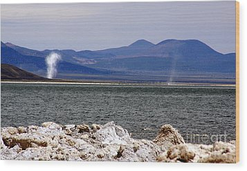 Wood Print featuring the photograph Dust Devils Of Mono Lake by Thomas Bomstad