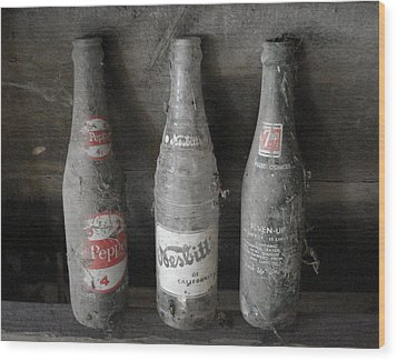 Dust On The Bottles Wood Print