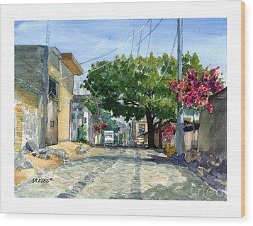 Dusty Backstreet In Ajijic Wood Print
