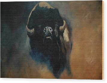 Dusty Buffalo Wood Print by Jean Yves Crispo