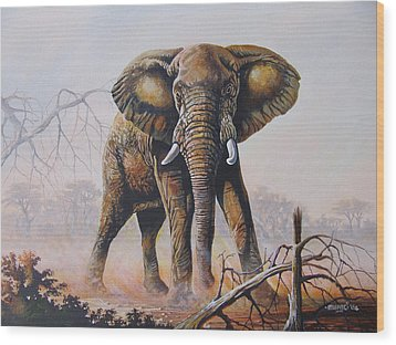 Wood Print featuring the painting Dusty Jumbo by Anthony Mwangi