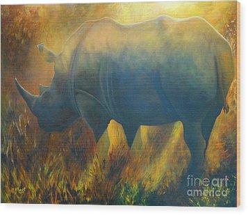 Dusty Rhino Wood Print by Caroline Street