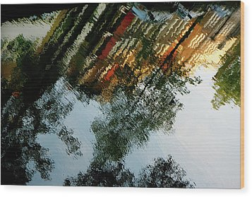 Wood Print featuring the photograph Dutch Canal Reflection by KG Thienemann