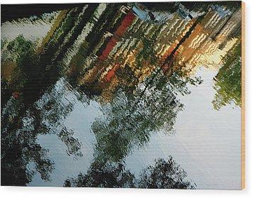 Dutch Canal Reflection Wood Print