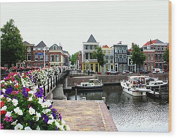 Dutch Cityscape With Boats Wood Print by Carol Groenen