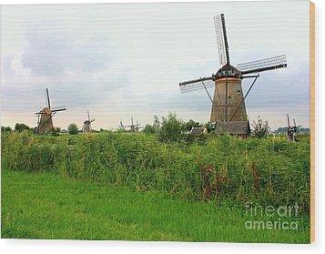 Dutch Landscape With Windmills Wood Print by Carol Groenen